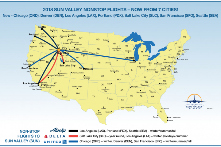 map of non-stop flights to Hailey