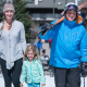 ski family walking in the snow